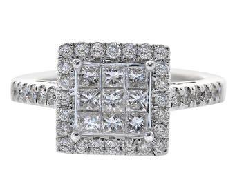 1.00 Carat Princess/Round Cut Diamond Ring 14K White Gold