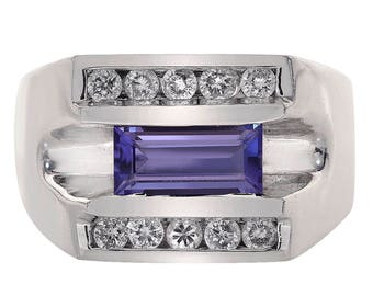 1.00 Carat Emerald Cut Tanzanite & 0.30 Carat Diamond Men's Ring 18K White Gold