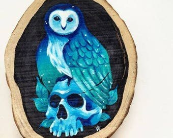 Owl + Skull Wood Slice Painting