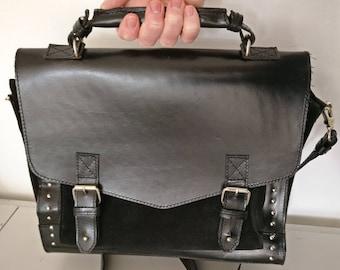 Briefcase Black Leather, Vintage Messenger Bag Genuine Leather