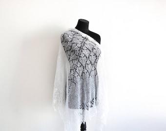 white shawl, lace shawl, Hand Knit Shawl, Wedding Shawl, wool shawl, shawl for women, Bridal shawl, Womens Knit Shawl, Christmas gift