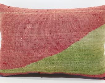 16x24 Red Green Color Kilim Pillow 16x24 Lumbar Pillow Ethnic Pillow Decorative Kilim Pillow Fllor Pillow Cushion Cover SP4060-631