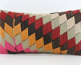 Geometric Kilim Pillow Bedroom Pillow Boho Pillow 12x24 Anatolian Kilim Pillow Multicolor Kilim Pillow Ethnic Pillow SP3060-1113