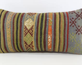 Decorative Kilim Pillow Home Decor Throw Pillow 12x24 Handwoven Kilim Pillow Floor Pillow Embroidered Kilim Pillow Cushion Cover  P3060-1132