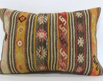 Embroidered Kilim Pillow Anatolian Kilim Pillow Floor Pillow 16x24 Lumbar Kilim Pillow Turkish Kilim Pillow Cushion Cover SP4060-744