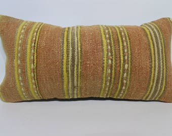 Stripe Kilim Lumbar Pillow Cover 12 x 24 - 30 x 60 cm Turkish Kilim Pillow,Decorative Pillow,Boho Pillow,Bed Pillow SP3060-1230