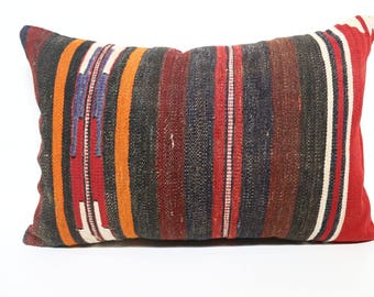 Multicolor Kilim Pillow 16x24  Lumbar Pillow  Bohemian Kilim Pillow Decorative Kilim Pillow Embroidered Handwowen Kilim Pillow SP4060-821