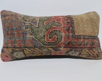 12x24  handwoven rug pillow 12x24 decorative carpet pillow  pillow cushion cover vintage carpet pillow  bohemian carpet pillow SP3060-1637