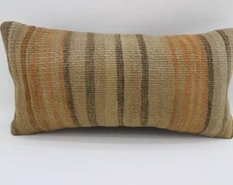 10x20 striped kilim pillow turkish kilim pillow anatolian kilim pillow home decor sofa pillow lumbar pillow decorative pillow SP2550-1547