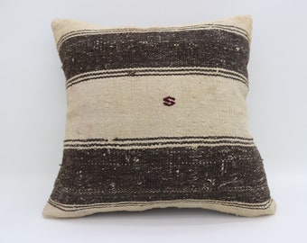 20x20 Pillows White and Black Pillows Striped Pillows Rare Turkish Pillows Big Throw Pillows Large Cushion Cover Kilim Pillows SP5050-2594