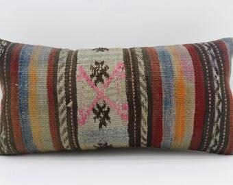 12x24 Pillow Covers Striped Pillow Embroidery Pillow Turkish Kilim Pillow Sofa Pillow 12x24 Geometric Pilllow Multicolor Pillow SP3060-1689