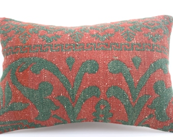 16x24 Kilim Pillow Cover Floral Pillow Geometric Pillow Turkish Decorative Kilim Pillow 16x24 Pillow Red and Green Pillow  SP4060-1372