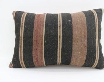16x24 Pillows Striped Kilim Pillow Black Pillow Multicolor Pillow 16x24 Turkish Decorative Kilim Pillow Throw Pillow Boho Pillow SP4060-1393