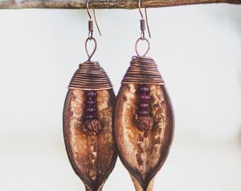 Seed Pod Earrings (Red Thread)