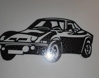 plaque enseigne OPEL GT en acier finition peinture effet martelé