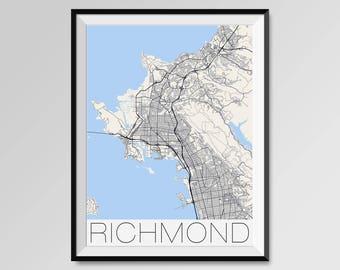 RICHMOND California Map, Richmond City Map Print, Richmond Map Poster, Richmond Map Art, Richmond gift, Custom city maps, California map