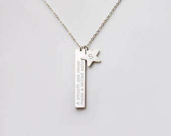 Vertical bar and star necklace • NBV38x6S0