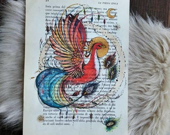 Original painting, Phoenix of Fire, art on book page, gift idea