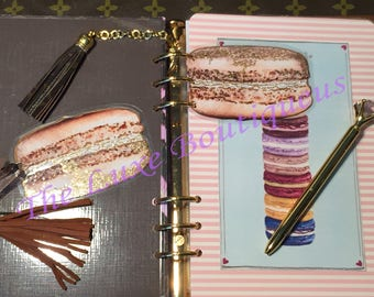 Gold Dusted Macaron Page Insert Laminate w/ suede tassel option OS