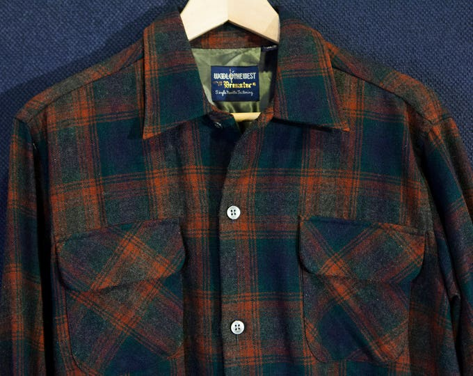 Vintage Wool O' The West Japanese Wool Flannel Made in Japan size Medium Workwear Workshirt Orange and Blue Plaid