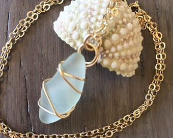 Hawaiian Sea Glass Pendant in 14k Gold Filled Wire, Hand Wrapped Sea Glass Necklace, Sea Foam Green Glass Pendant