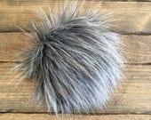 Faux Fur Poms in Slate- Two sizes