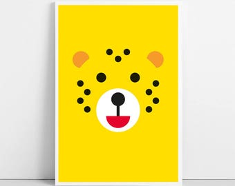 Cheetah Print, Nursery Wall Art, Animal Face Illustration, Baby Children Kids Room Decor, Printable Leopard, Large Poster, Digital Download