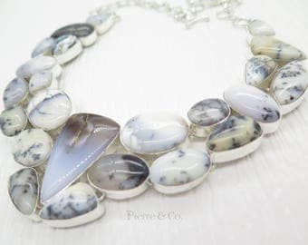 Double Layer Dendritic Agate Sterling Silver Necklace