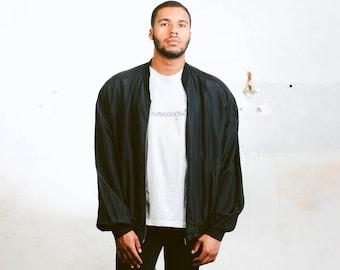 Black Bomber Jacket . Vintage Oversized Bomber Jacket Mens Silk Bomber Zip Up Retro 90s Jacket Hipster Outfit Boyfriend Wear . size XL