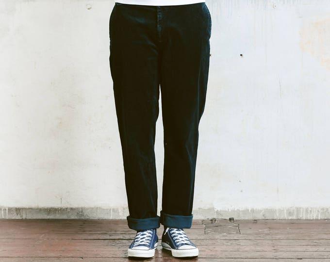 Black Polo Ralph Lauren Corduroy Pants . 90s Vintage Men's Cord Trousers Tappered Pants Dad Peg Leg Hipster Nerd Pants . size Large