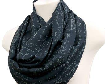 Handmade Math scarf algebra formula infinty scarves birthday gift for her anniversary gift for nerd geek teachers engineers mathematicians