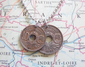 France 1927/1928/1931/1933 vintage duo 10 and 25 centimes pendant necklace - birth year - wedding present - 90e - 89e - 86e - 84e birthday