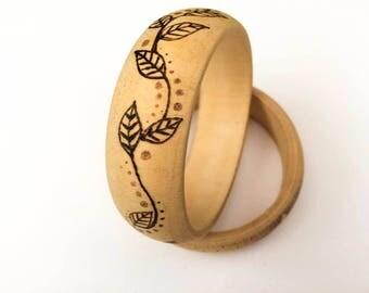 Wooden bangle, boho chic small wooden bracelet with pyrography vine leaf design, summer festival boho fashion accessory