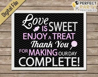 Candy Bar Sign - Love Is Sweet (Black Chevron) Wedding Favor - Cupcake Bar - Dessert Bar - Buffet - Printable - Instant Download - 8x10