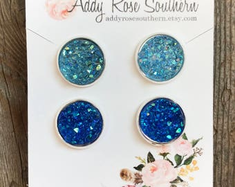 12mm druzy earrings, druzy studs, druzy earrings, blue druzy earrings, druzy earring set