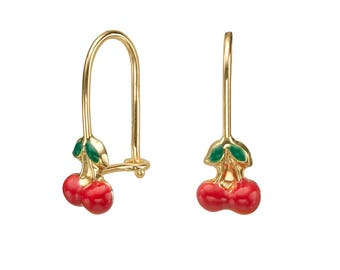 14K Solid Yellow Gold Earrings Cherry Drop Eliptical Hoop Enamel Kidney Ear Wire Child Children Kids Teen Baby Girls Gift