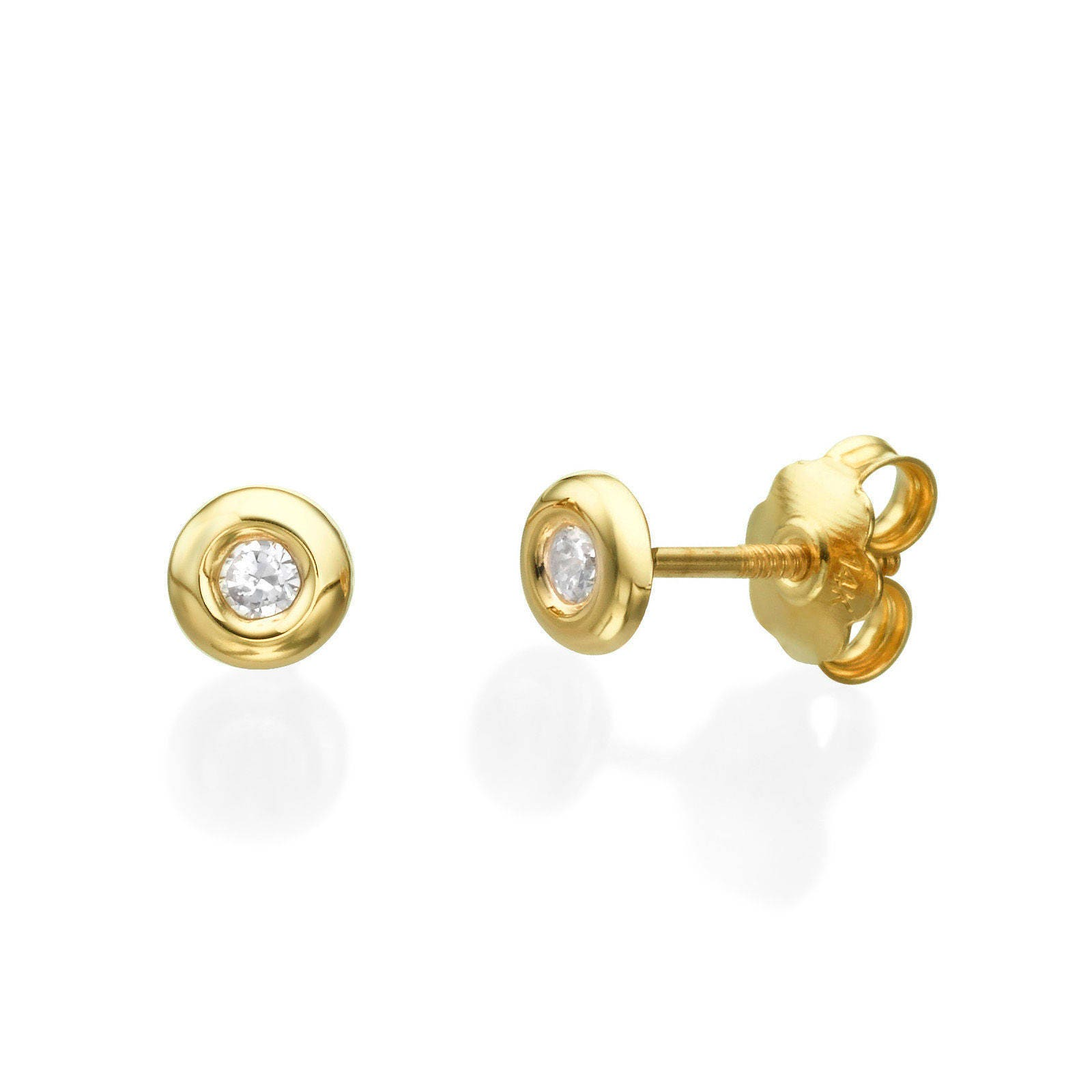 Cubic Zirconia Earrings, Delicate Solid Gold Earrings, 14K Yellow ...