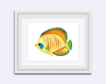 Striped Fish print - rainbow fish print - Printable kids gift - fish wall art - watercolor fish - kids wall art - Nursery Decor - girls art
