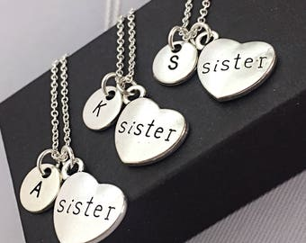 Custom, Sister Necklace for 3, Sister Jewelry, Sister Charm, Gift for Sister, Custom, Personalized, Monogram, 3 Sisters, Charm Necklace Gift