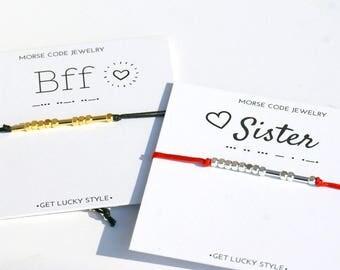 BFF Morse code bracelet  Best friend gift for besties Valentines gift for  Best friend bracelet Sister bracelet Birthday gift for Bestfriend