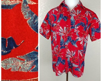 Milano Bay Red Hawaiian Shirt with Palm Leaves & Birds of Paradise
