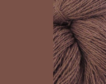 Wool Yarn, cacao brown, fingering 2-ply worsted pure lambswool 8/2 100g/350m