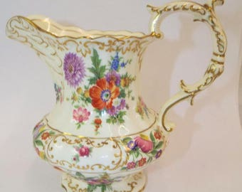 Hammersley Dresden Sprays 4055 Bone China Floral Pitcher - Made in England; New Vintage