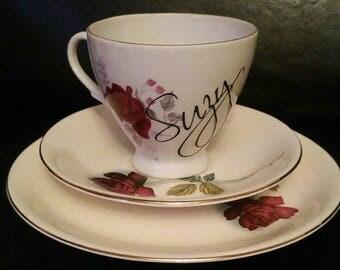 Personalised vintage china - vintage tea cup trio - trio - china cup and saucer - vintage china - cup and saucer - vintage teacup - name