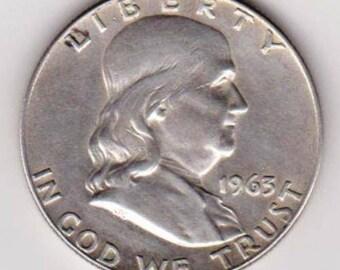 1963-D Franklin Silver Half Dollar.