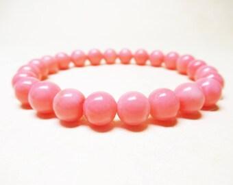 Pink Coral Bracelet Gemstone Bracelet Fertility Bracelet Healing Bracelet Heart Chakra Bracelet Healing Crystal 8mm Pink Coral Mala Bracelet
