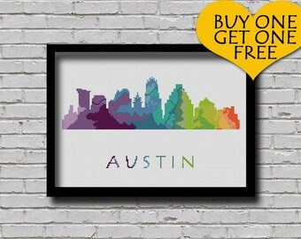 Cross Stitch Pattern Austin Texas Silhouette Watercolor Painting Effect Decor Embroidery Modern Ornament Usa City Skyline Xstitch