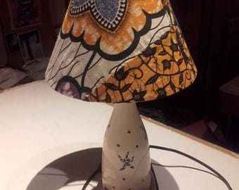 Lamp shade with small patchwork wax Akwaba creations