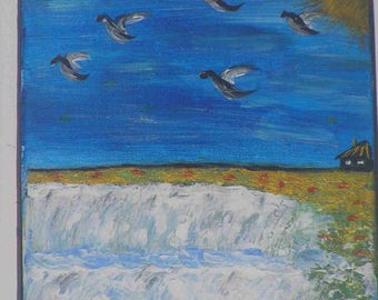 """Waterfall and birds"" acrylic painting on canvas frame (19 x 24 cm)"