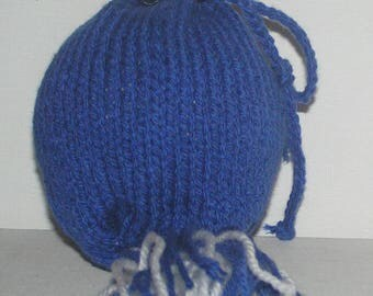 Decoration original ball of Christmas 8 cm - styrofoam/wool blue and white